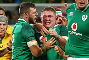 Tadhg Furlong of Ireland is congratulated by his teammates after scoring a try during the International test match between the Australian Wallabies and Ireland at AAMI Park on June 16, 2018 in Melbourne, Australia.