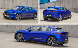 a blue car parked in front of a building: We Drive the I-Pace, Jaguar's First EV!