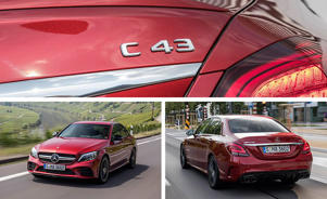 a red car parked in a parking lot: 2019 Mercedes-Benz C300 and Mercedes-AMG C43 Driven: More Tech, More Power