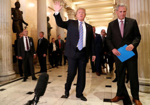 President Donald Trump departs after speaking briefly to the news media from a closed House Republican Conference meeting with House Majority Leader Kevin McCarthy (R-CA) at the U.S. Capitol in Washington, D.C., U.S., June 19, 2018.