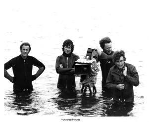 Director Steven Spielberg, camera operator Michael Chapman and cinematographer Bill Butler on the set of the Universal Pictures production of 'Jaws' in 1975 in Martha's Vineyard, Massachusetts.