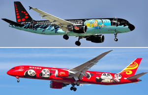 TITLE: OO-SNB - Tintin comics Livery Airbus A320-214, Brussels Airlines; Chicago, USA - December 18, 2017: A Hainan Airlines Boeing 787 aircraft displaying the Kung Fu Panda livery, on final approach to O'Hare International Airport.
