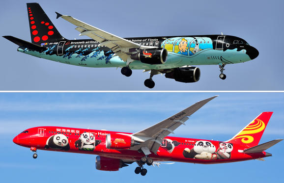 圖片 1 /共 22 張: TITLE: OO-SNB - Tintin comics Livery Airbus A320-214, Brussels Airlines; Chicago, USA - December 18, 2017: A Hainan Airlines Boeing 787 aircraft displaying the Kung Fu Panda livery, on final approach to O'Hare International Airport.