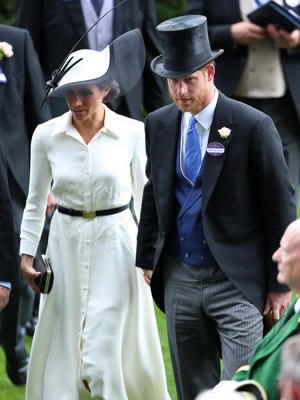Meghan, Duchess of Sussex and Prince Harry, Duke of Sussex during day one of Royal Ascot at Ascot Racecourse.