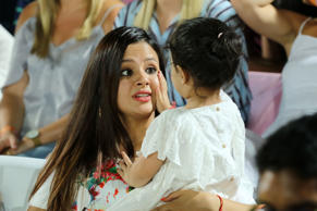 Sakshi Dhoni in the stands with daughter Ziva