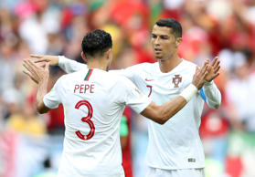 Soccer Football - World Cup - Group B - Portugal vs Morocco - Luzhniki Stadium, Moscow, Russia - June 20, 2018   Portugal's Cristiano Ronaldo and Pepe celebrate after the match              REUTERS/Carl Recine