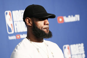 CLEVELAND, CA - JUN 8:  LeBron James #23 of the Cleveland Cavaliers talks to the media after being defeated by the Golden State Warriors in Game Four of the 2018 NBA Finals won 108-85 by the Golden State Warriors over the Cleveland Cavaliers at the Quicken Loans Arena on June 6, 2018 in Cleveland, Ohio. NOTE TO USER: User expressly acknowledges and agrees that, by downloading and or using this photograph, User is consenting to the terms and conditions of the Getty Images License Agreement. Mandatory Copyright Notice: Copyright 2018 NBAE (Photo by Chris Elise/NBAE via Getty Images)