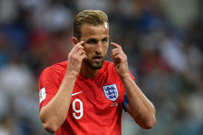 Harry Kane of England reacts during the 2018 FIFA World Cup Russia group G match between Tunisia and England at Volgograd Arena on June 18, 2018 in Volgograd, Russia.