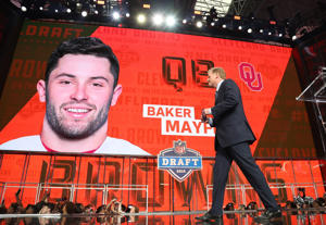 #1: Baker Mayfield, Cleveland Browns: Oklahoma Sooners quarterback Baker Mayfield was selected number 1 overall by the Cleveland Browns. Mayfield did not attend the draft.