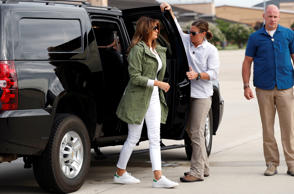 U.S. first lady Melania Trump arrives at Joint Base Andrews, Maryland, U.S., prior to departing for Texas near the U.S.-Mexico border June 21, 2018.