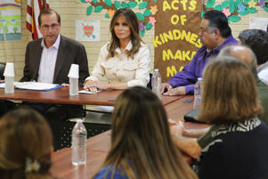 MCALLEN, TX - JUNE 21:  U.S. first lady Melania Trump participates in a round table discussion with doctors and social workers at the Upbring New Hope Childrens Center operated by Lutheran Social Services of the South and contracted with the Department of Health and Human Services June 21, 2018 in McAllen, Texas. The first lady traveled to Texas to see first hand the condition and treatment that migrant children taken from their families at the U.S.-Mexico border are receiving from the federal government. Following public outcry and criticism from members of his own party, President Donald Trump signed an executive order Wednesday to stop the separation of migrant children from their families, a practice the administration employed to deter illegal immigration at the border.  (Photo by Chip Somodevilla/Getty Images)