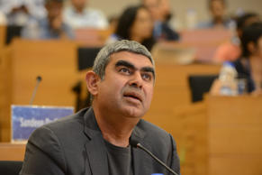 Vishal Sikka CEO & MD of Infosys addressing the Press conference on Infosys Q4 at Infosys headquarter on April 15, 2016 in Bengaluru, India.