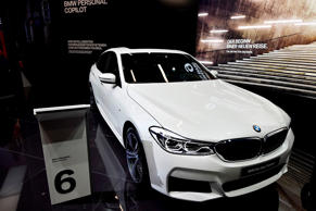 A BMW 6 Gran Turismo car is presented at the Frankfurt Auto Show IAA in Frankfurt am Main, Germany, on September 13, 2017.According to organisers, around 1,000 exhibitors from 39 countries will showcase their products and services. This year's fair running from September 14 to 24, 2017 will focus on digitization, urban mobility and electric mobility.