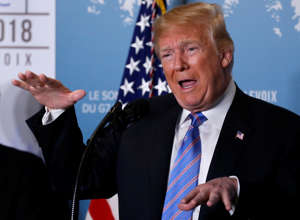 U.S. President Donald Trump gives a news briefing at the G7 Summit in the Charlevoix city of La Malbaie, Quebec, Canada June 9, 2018. REUTERS/Leah Millis