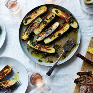 a plate of food on a table: Canal House's Marinated Zucchini