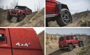 a red car parked next to a truck: Mercedes-Benz G550 4x4² Tested: A Swarovski-Crystal-Encrusted Brodozer