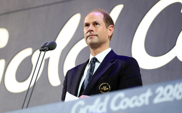 Prince Edward, Earl of Wessex speaks during the Closing Ceremony for the 2018 Commonwealth Games at the Carrara Stadium in the Gold Coast, Australia.