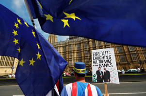 Anti-Brexit demonstrators protest opposite the Houses of Parliament in London, Britain, June 11, 2018. REUTERS/Peter Nicholls