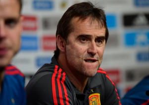 Spain national football team coach Julen Lopetegui reacts during a press conference at Krasnodar's stadium on June 8, 2018 on the eve of the international friendly match against Tunisia. (Photo by Pierre-Philippe MARCOU / AFP)        (Photo credit should read PIERRE-PHILIPPE MARCOU/AFP/Getty Images)
