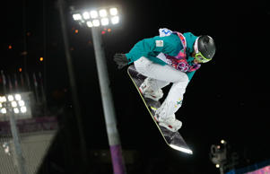 Australia's Torah Bright competes in the women's snowboard halfpipe final at the Rosa Khutor Extreme Park, at the 2014 Winter Olympics.