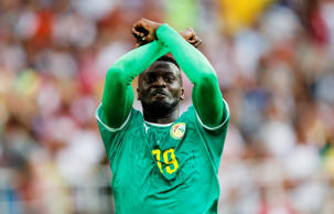 MOSCOW, RUSSIA - JUNE 19: Mbaye Niang #19 of Senegal celebrates scoring goal 0-2 during the 2018 FIFA World Cup Russia group H match between Poland and Senegal at Spartak Stadium on June 19, 2018 in Moscow, Russia. (Photo by Daniel Malmberg/Getty Images)