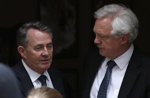Britain's International Trade Secretary Liam Fox (L) and Britain's Secretary of State for Exiting the European Union (Brexit Minister) David Davis (R) leave from 10 Downing Street in London on June 7, 2018. - British Prime Minister Theresa May gathered her ministers Thursday amid swirling rumours that Brexit secretary David Davis could quit over her plans to avoid a hard Irish border. (Photo by Adrian DENNIS / AFP)        (Photo credit should read ADRIAN DENNIS/AFP/Getty Images)