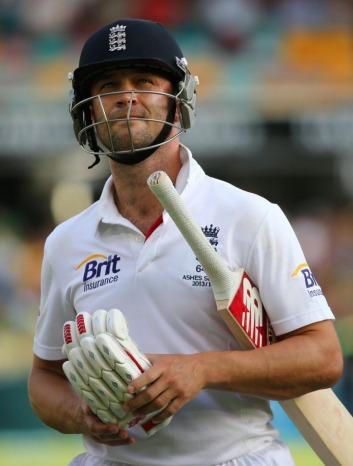 England batsman Jonathan Trott walks from the pitch on day three of the first Ashes cricket Test between England and Australia at the Gabba in November 2013.