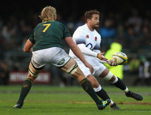 Danny Cipriani of England passes the ball during the third test match between South Africa and England at Newlands Stadium on June 23, 2018 in Cape Town, South Africa.