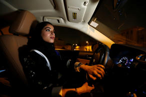 Majdooleen, who is among the first Saudi women allowed to drive in Saudi Arabia drives her car in her neighborhood in Riyadh, Saudi Arabia June 24, 2018. REUTERS/Faisal Al Nasser