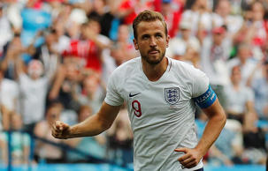 Harry Kane celebrates during England's 6-1 victory over Panama on Sunday.