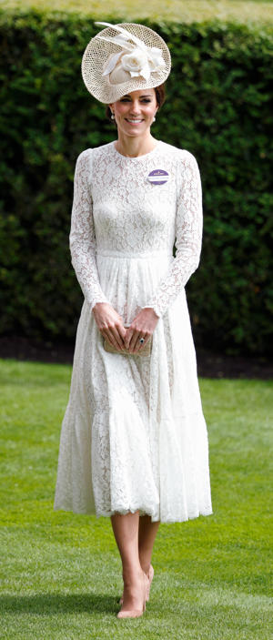 The Duchess of Cambridge wore a lace midi dress by Dolce and Gabbana for her debut Royal Ascot appearance in 2016.