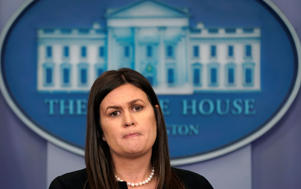 White House spokeswoman Sarah Sanders holds a press briefing at the White House in Washington, U.S., April 25, 2018.  REUTERS/Kevin Lamarque