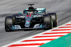 Mercedes' Lewis Hamilton in action during the race
