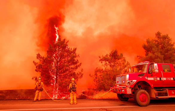 Slide 1 de 33: A tree ignites as firefighters attempt to stop flames from the Pawnee fire from jumping across highway 20 near Clearlake Oaks, California on July 1, 2018. - More than 30,000 acres have burned in multiple fires throughout the region. (Photo by JOSH EDELSON / AFP)        (Photo credit should read JOSH EDELSON/AFP/Getty Images)
