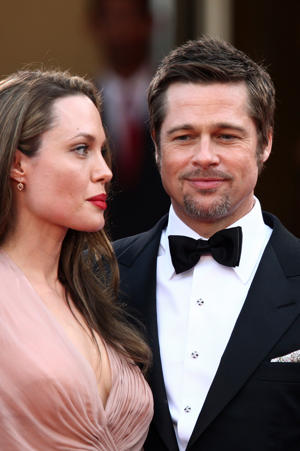 Brad Pitt and Angelina Jolie. (Photo by Eric CATARINA/Gamma-Rapho via Getty Images)
