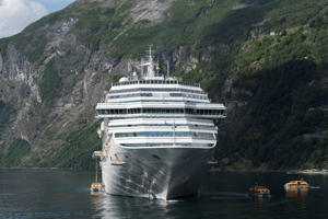 A cruise ship anchored in Geirangerfjord on August 7, 2017 in Stranda, Norway.