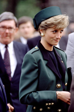 The late Princess Diana wore an olive green military-style suit on an official visit to Czechoslovakia in 1991. (Rex Features)