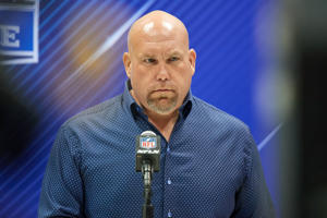 INDIANAPOLIS, IN - FEBRUARY 28: General Manager of the Arizona Cardinals Steve Keim, answers questions from the media during the NFL Scouting Combine on February 28, 2018 at Lucas Oil Stadium in Indianapolis, IN. (Photo by Robin Alam/Icon Sportswire via Getty Images)