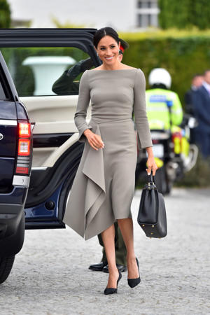 The Duchess of Sussex arrives to meet the President of Ireland, Michael Higgins, at Aras an Uachtarain in Dublin, Ireland.