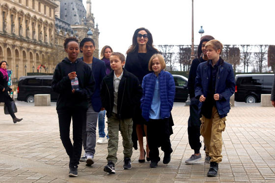 Slide 1 of 34: PARIS, FRANCE - JANUARY 30:  Actress Angelina Jolie and her children Maddox Jolie-Pitt, Shiloh Jolie-Pitt, Vivienne Marcheline Jolie-Pitt, Knox Leon Jolie-Pitt, Zahara Jolie-Pitt and Pax Jolie-Pitt are seen leaving the Louvre museum on January 30, 2018 in Paris, France.  (Photo by Marc Piasecki/GC Images)
