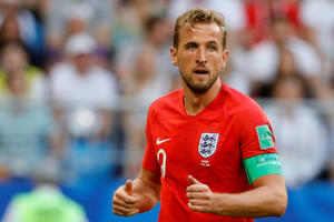 Harry Kane of England is seen during the 2018 FIFA World Cup Russia quarter final match between Sweden and England at the Samara Arena in Samara, Russia on July 07, 2018.