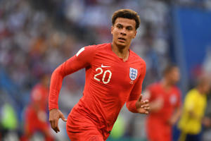 Dele Alli of England in action during the 2018 FIFA World Cup Russia Quarter Final match between Winner Game 55 and Winner Game 56 at Samara Arena on July 7, 2018 in Samara, Russia.