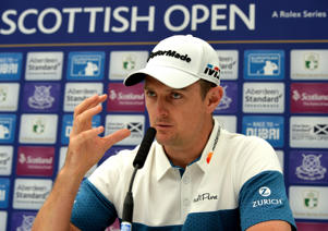 GULLANE, SCOTLAND - JULY 11: Justin Rose of England speaks to the media during previews for the Aberdeen Standard Investments Scottish Open at Gullane Golf Course on July 11, 2017 in Gullane, Scotland. (Photo by Mark Runnacles/Getty Images)