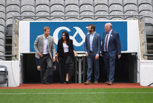 Prince Harry and Meghan, the Duchess of Sussex, arrive at the stadium to watch a demonstration of traditional Gaelic sports at Croke Park in Dublin, Ireland, July 11, 2018. REUTERS/Cathal McNaughton