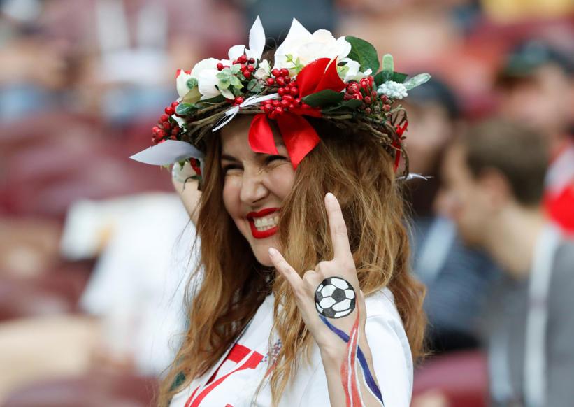 الشريحة 29 من 46: Soccer Football - World Cup - Semi Final - Croatia v England - Luzhniki Stadium, Moscow, Russia - July 11, 2018 England fan inside the stadium before the match REUTERS/Grigory Dukor