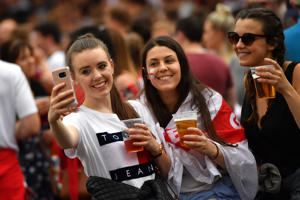 MANCHESTER, ENGLAND - JULY 11:  Football fans begin to arrive to watch England play Croatia at the Auto Trader World Cup semi-final screening in Castlefield Bowl on July 11, 2018 in Manchester, United Kingdom. World Cup fever is building among England fans after reaching the Semi Finals of the Russia 2018 FIFA World Cup (Photo by Anthony Devlin/Getty Images)
