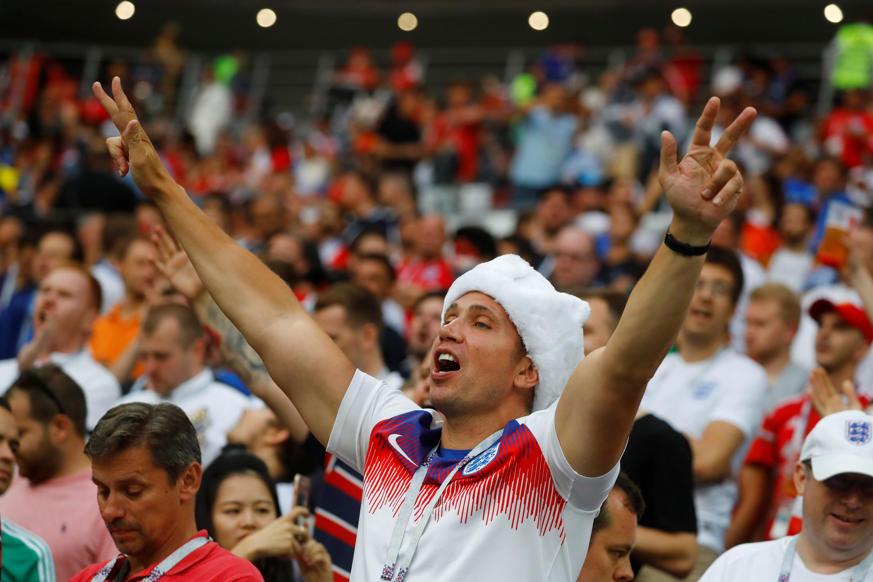 الشريحة 33 من 46: Soccer Football - World Cup - Semi Final - Croatia v England - Luzhniki Stadium, Moscow, Russia - July 11, 2018 England fan inside the stadium before the match REUTERS/Kai Pfaffenbach