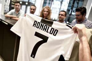 The shirt of Juventus new signing Cristiano Ronaldo is on sale at Jstore.