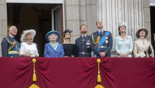 (left to right) Prince of Wales, the Duchess of Cornwall, Queen Elizabeth II, Duchess of Sussex, Duke of Sussex, Duke of Cambridge, Duchess of Cambridge and the Princess Royal on the balcony at Buckingham, Palace where they watched a Royal Air Force flypast over central London to mark the centenary of the Royal Air Force..