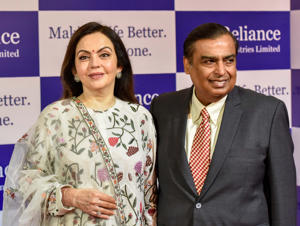 Reliance Industries Chairman Mukesh Ambani and Director Nita Ambani during the Reliance Industries 41st Annual General Meeting at Birla Matoshree Hall, on July 5, 2018 in Mumbai, India. On Thursday, at the annual general meeting (AGM) of Reliance Industries, Ambani announced the launch of JioGigaFiber across Indian 1,100 cities simultaneously. Customers can start registering for JioGigaFiber from August 15.